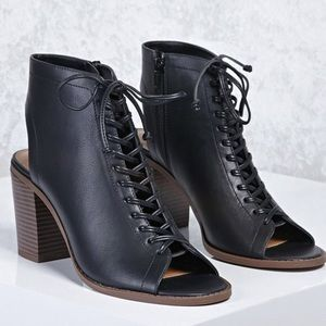 Forever21 Faux Leather Cutout Ankle Boot